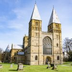 Front of Southwell Minster with twin pepperpot towers